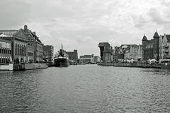 View of Gdansk, old Town. View of river Motlava and old historic Crane in black and white Stock Image