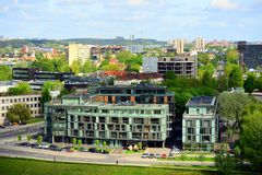 View from Gediminas castle to the new Vilnius Royalty Free Stock Images