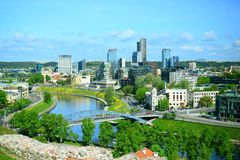 View from Gediminas castle to the new Vilnius. VILNIUS, LITHUANIA - MAY 12: View from Gediminas castle to the new Vilnius on May 12, 2015, Vilnius, Lithuania stock images