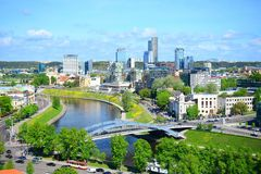 View from Gediminas castle to the new Vilnius Stock Image