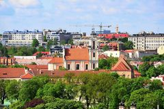 View from Gediminas castle to the old Vilnius Royalty Free Stock Photo