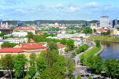 View from Gediminas castle to the old Vilnius Royalty Free Stock Images