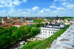View from Gediminas castle to the old Vilnius Stock Photos