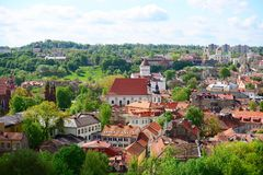 View from Gediminas castle to the old Vilnius Royalty Free Stock Image
