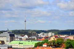 View from Gediminas castle to the old Vilnius Stock Images