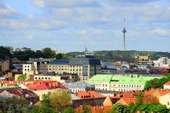 View from Gediminas castle to the old Vilnius Royalty Free Stock Photography