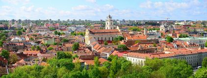 View from Gediminas castle to the old Vilnius Stock Photo