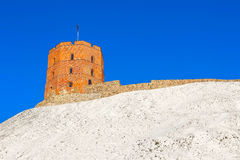 View on Gediminas tower on the castle hill in the old town of Vilnius city in Lithuania Stock Image