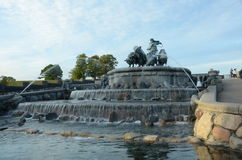 View of Gefion Fountain. A view of an elaborate water feature in the Danish city of Copenhagen Stock Images