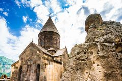 View on Geghard medieval monastery in the Kotayk province of Armenia stock images