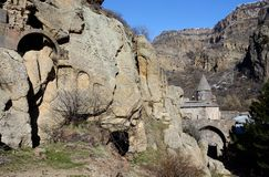 View of Geghard rock monastery with ancient khachkars ,Armenia Stock Photography