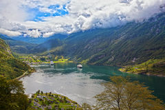 View of Geiranger. The Geiranger fjord in Norway, surrounded by high mountains Royalty Free Stock Photo