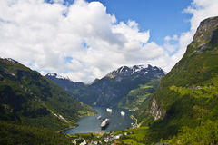 View of Geiranger fjord, Norway Stock Images