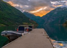 View of Geiranger Fjord at sunset.Norway royalty free stock photos