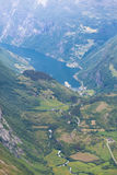 View on Geirangerfjord from Dalsnibba viewpoint in Norway Royalty Free Stock Photos