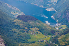 View on Geirangerfjord from Dalsnibba viewpoint in Norway Royalty Free Stock Photography