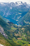 View on Geirangerfjord from Dalsnibba viewpoint in Norway Stock Photography