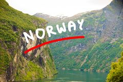 View on Geirangerfjord from Flydasjuvet viewpoint Norway Stock Photography