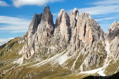 View of Geislergruppe or Gruppo delle Odle, Dolomiti Royalty Free Stock Images