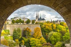 View of Gelle Fra and Notre Dame Cathedral from Adolphe bridge i. The view of iconic monuments like Gelle Fra and Notre dame cathedral from the arch of Adolphe Royalty Free Stock Photo