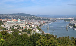 View from Gellert Hill of Buda Castle and Danube River Stock Images