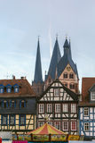 View of Gelnhausen, Germany. View of historic half-timbered houses and st. Mary church in Gelnhausen, Germany royalty free stock photo