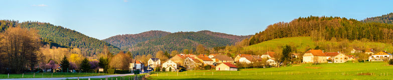 View of Gemaingoutte, a village in the Vosges Mountains Stock Photos