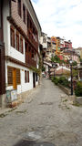 View from General Gurko Street. Traditional Bulgarian houses on General Gurko Street from the old part of Veliko Tarnovo Royalty Free Stock Photo