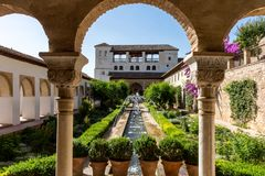 View of The Generalife courtyard, with its famous fountain and g stock photo