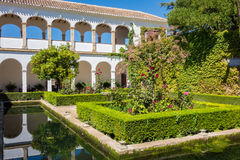 View of Generalife gardens in Alhambra in Granada  in Spain Royalty Free Stock Image
