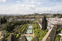 View of generalife gardens in Cordoba.Spain. Cordoba,Spain-March 21,2017:view on top of alcazar famous gardens in Cordoba city, Spain Stock Photo