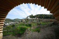 Generalife seen from the Alhambra in Granada, Andalusia, Spain Royalty Free Stock Photos