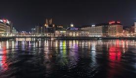 View of Geneva city at night stock photography