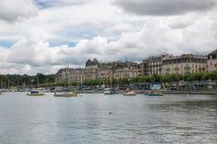 View on Geneva lake and city Geneva, Switzerland. Geneva, Switzerland - July 1, 2017: View on Geneva lake and city Geneva, Switzerland, Europe. Summer landscape stock photography