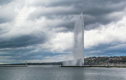 View of Geneva lake with Fountain, Switzerland. View of Geneva lake with Jet d'Eau Fountain, Switzerland stock photography