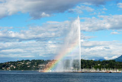 View of Geneva with rainbow Stock Image