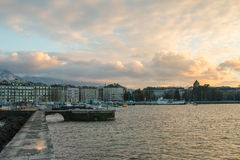View of Geneva, Switzerland waterfront from the Jetée des Eaux- Royalty Free Stock Image
