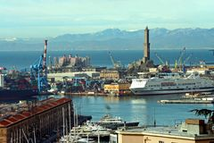 View of Genoa. View of the port of Genoa with its Lanterna stock photography