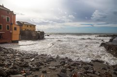 View of Genoa Boccadasse beach devasted after the storm of the night before, Italy royalty free stock photos