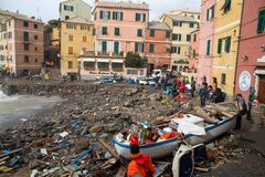 View of Genoa Boccadasse beach devasted after the storm of the night before, Italy royalty free stock photography