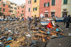 View of Genoa Boccadasse beach devasted after the storm of the night before, Italy royalty free stock photo