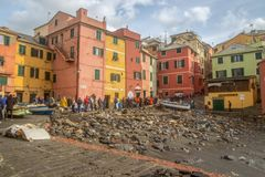 View of Genoa Boccadasse beach devasted after the storm of the night before, Italy. stock images
