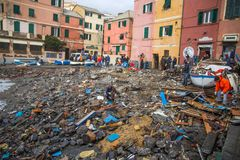 View of Genoa Boccadasse beach devasted after the storm of the night before, taly stock photo