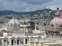 The view of Genoa. Cityscape of Genoa from the medieval gates of Harbour, Italy Royalty Free Stock Image