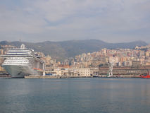 View of Genoa Italy from the sea Stock Images