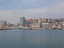 View of Genoa Italy from the sea Royalty Free Stock Photo
