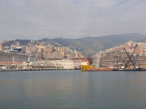 View of Genoa Italy from the sea Royalty Free Stock Images