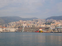 View of Genoa Italy from the sea Stock Photos
