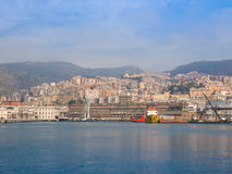 View of Genoa Italy from the sea Royalty Free Stock Image