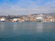 View of Genoa Italy from the sea Stock Photography